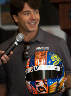 Detroit Grand Prix media lunch at the Detroit Yacht Club: Oriol Servia presents a new design on his helmet