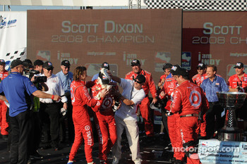 Scott Dixon gets hit with another pie