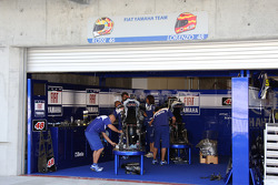 A busy Fiat Yamaha team garage