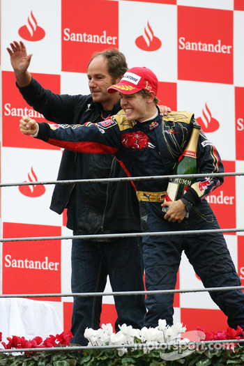 Podium: race winner Sebastian Vettel celebrates with Gerhard Berger