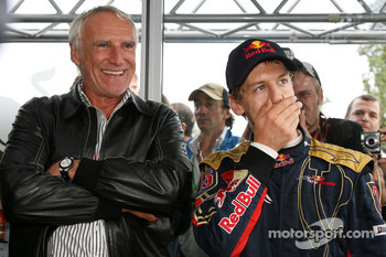 Race winner Sebastian Vettel celebrates with Dietrich Mateschitz, Owner of Red Bull