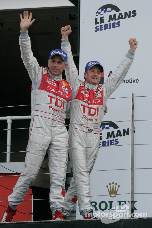 LMP1 podium: class and overall winners Allan McNish and Rinaldo Capello