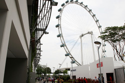 The Singapore flyer overlooks the paddock