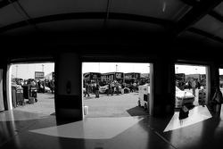 A view of the tech inspection line from the empty garage area