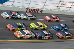 Mike Wallace, Jeff Gordon and Travis Kvapil lead three wide action