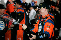 Victory lane: race winner Jeff Burton celebrates