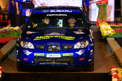 Rifat Sungkar and co-driver Bill Hayes, Subaru Impreza WRX for Motor Image Rally Team