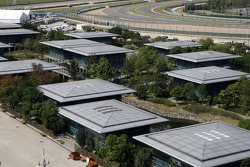 The team buildings in the paddock