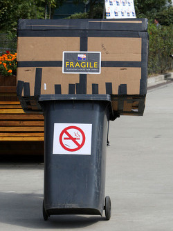 A fragile box on a bin