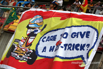 A banner for Fernando Alonso, Renault F1 Team