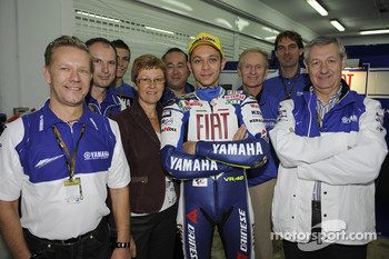 Valentino Rossi celebrates with his team