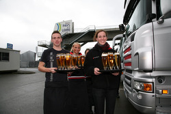 German beer ready for post-race celebrations