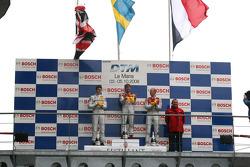 Podium: race winner Mattias Ekström, second place Paul di Resta, third place Alexandre Prémat