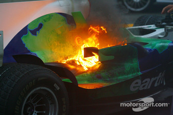 Honda Racing F1 Team RA108 of Jenson Button on fire