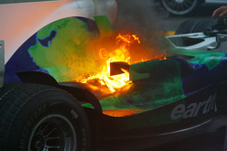 Honda Racing F1 Team RA108 of Jenson Button on fire