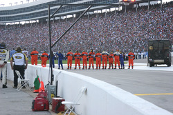Safety crews line up for the Nation Anthem
