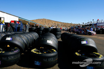 Goodyear tires stand at the ready in the garage