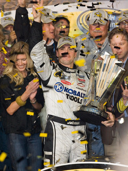 Championship victory lane: 2008 NASCAR Sprint Cup Series champion Jimmie Johnson celebrates