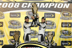 Championship victory lane: 2008 NASCAR Sprint Cup Series champion Jimmie Johnson with Chad Knaus