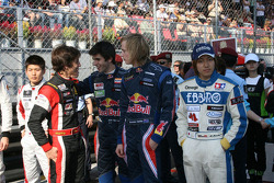 Merhi, Alguersuari and Hartley share a joke