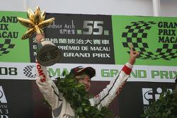 Podium: race winner Keisuke Kunimoto celebrates