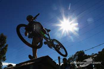 Launceston, Australia: a competitors lifts his bike over a ramp