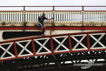 Launceston, Australia: Jan Kubicek of Team Redbull in action on the bridge climb