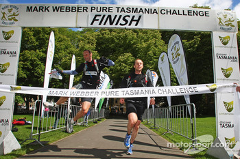 Hobart, Australia: Peter Wilson and Ian Matthews of Team Datacom cross the finish line
