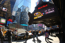 In New York City's Times Square, the Hard Rock Cafe's marquee hosts a Tissot Countdown Clock, counting down to the start of Tailgate City driven by Ford on Thursday