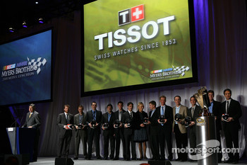 As NASCAR on FOX announcer Mike Joy addresses the 2008 NASCAR NMPA Myers Brothers Media Luncheon, the top 12 drivers in the final NASCAR Sprint Cup Series standings are honored by Tissot at Cipriani