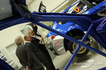 HRH Prince Philip, Duke of Edinburgh, on his visit to the Subaru World Rally Team prior to Wales Rally GB