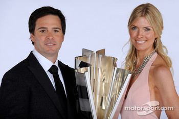 NASCAR Sprint Cup Series champion Jimmie Johnson and wife Chandra share a moment with the Sprint Cup trophy at the Waldorf=Astoria