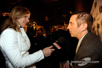 Greg Biffle talks with media after the 2008 NASCAR NMPA Myers Brothers Media Luncheon