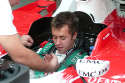 Toyota Young Drivers Programme member Henki Waldschmidt is strapped in to a TF108 in Bahrain