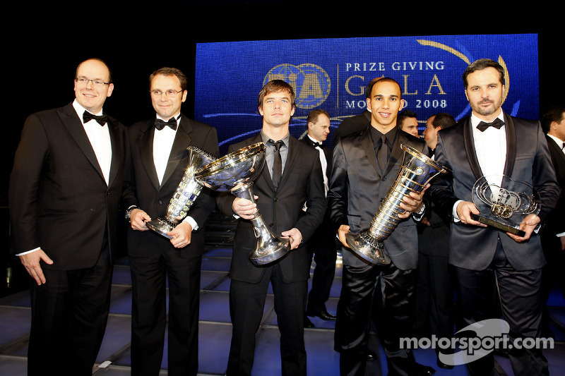 His Serene Highness Prince Albert of Monaco, Ferrai Team Director Stefano Domenicali, FIA Formula 1 World Championship winning constructor, FIA World Rally champion Sébastien Loeb, FIA Formula 1 World champion Lewis Hamilton, and FIA World Touring Car ch