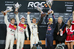 Podium: Nations Cup winners Michael Schumacher and Sebastian Vettel (Team Germany) celebrate with second place Mattias Ekström and Tom Kristensen (Team Scandinavia)
