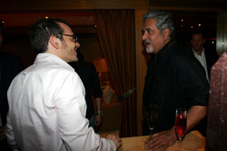 Jacques Villeneuve with Dr Vijay Mallya Force India F1 Team Owner at the Kingfisher boat party on the Indian Empress