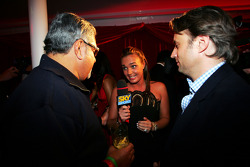 Dr Vijay Mallya Force India F1 Team Owner, Adam Parr Williams CEO and Tamara Ecclestone Sky TV Presenter at the Fly Kingfisher Boat Party