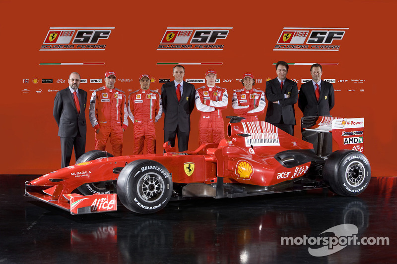 Chief designer Nicholas Tombazis, Marc Gene, Felipe Massa, Ferrari Team Director Stefano Domenicali, Kimi Raikkonen, Luca Badoer, head of engine department Gilles Simon and and Aldo Costa with the new Ferrari F60