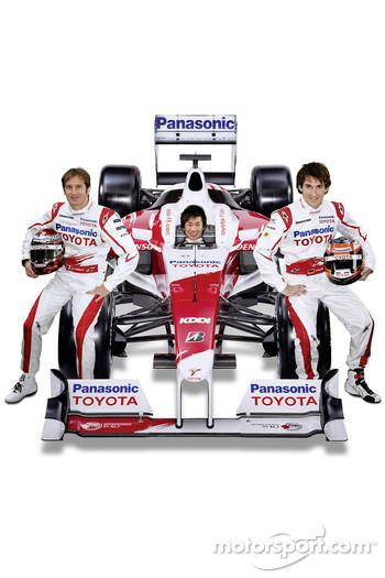 Jarno Trulli with Kamui Kobayashi and Timo Glock with the new Toyota TF109