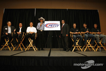 NASCAR Sprint Cup Series owners Richard Petty and Foster Gillette unveil the logo for the merged teams