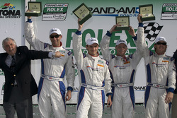 DP victory lane: class and overall winners David Donohue, Antonio Garcia, Darren Law and Buddy Rice celebrate with Brian Redman