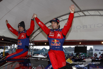 Rally winners Sébastien Loeb and Daniel Elena celebrate