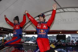 Rally winners Sébastien Loeb and Daniel Elena celebrate