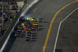 Paul Menard, Yates Racing Ford, collide with Dale Earnhardt Jr., Hendrick Motorsports Chevrolet