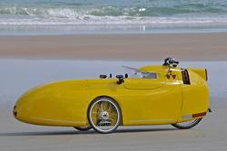 Living legends of auto racing beach parade: pedal power