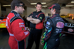 Tony Stewart, Stewart-Haas Racing Chevrolet, Jeff Gordon, Hendrick Motorsports Chevrolet, and Steve Letarte, crew chief for Jeff Gordon