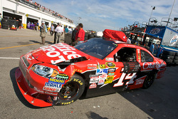 Wrecked car of Tony Stewart after his crash with teammate Ryan Newman, Stewart-Haas Racing Chevrolet