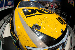 Champion's breakfast: Jack Roush's signature on the 2009 Daytona 500 Roush Fenway Racing Ford on display inside the Daytona 500 Experience building where it will remain for a full year