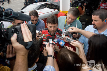 Tony Stewart, Stewart-Haas Racing Chevrolet, talk with the media after his crash with teammate Ryan Newman, Stewart-Haas Racing Chevrolet